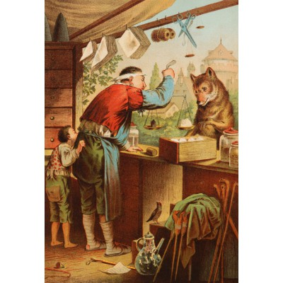 Puzzle  Grafika-Kids-00125 XXL Pieces - The Wolf and the Seven Young Kids, illustration by Carl Offterdinger