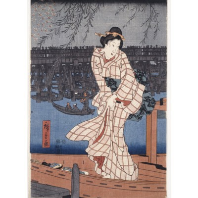 Puzzle  Grafika-Kids-00283 Utagawa Hiroshige: Evening on the Sumida River, 1847-1848