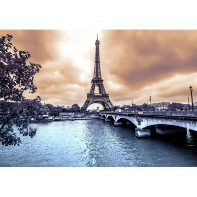 Puzzle  Grafika-Kids-00380 Eiffel Tower from Seine. Winter rainy day in Paris
