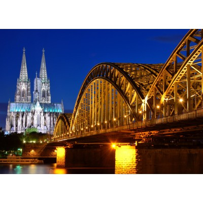 Puzzle  Grafika-Kids-00397 Magnetic Pieces - Cathedral and Hohenzollern Bridge - Cologne