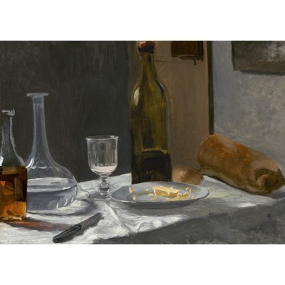 Puzzle  Grafika-Kids-01035 Claude Monet - Still Life with Bottle, Carafe, Bread, and Wine, 1863