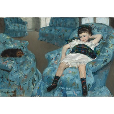 Puzzle  Grafika-Kids-01336 Mary Cassatt: Little Girl in a Blue Armchair, 1878