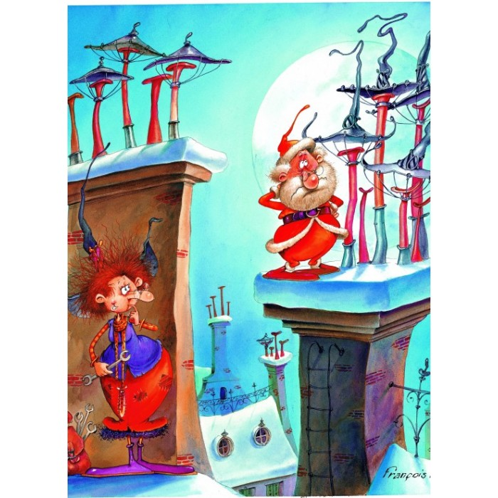Puzzle Grafika-Kids-01449 François Ruyer - The Witch and Santa Claus