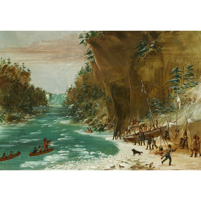 Puzzle Grafika-Kids-01497 George Catlin: The Expedition Encamped below the Falls of Niagara. January 20, 1679, 1847-1848