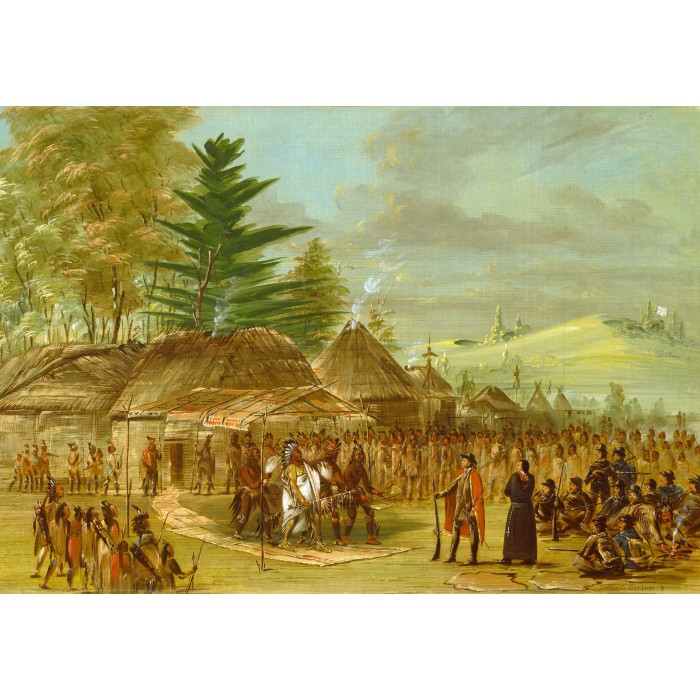 Puzzle Grafika-Kids-01499 George Catlin: Chief of the Taensa Indians Receiving La Salle. March 20, 1682, 1847-1848
