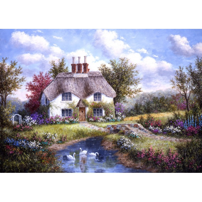 Puzzle Grafika-Kids-01862 Magnetic Pieces - Dennis Lewan - Swan Creek Cottage