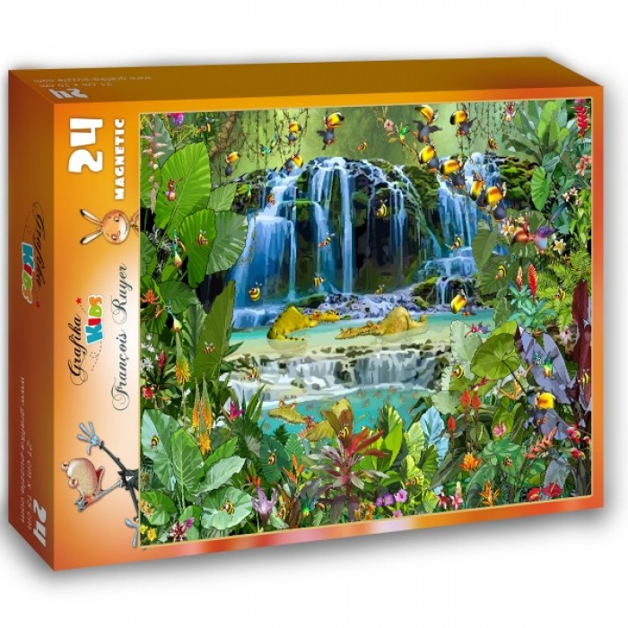Puzzle Grafika-Kids-01945 Magnetic Pieces - François Ruyer - Waterfall