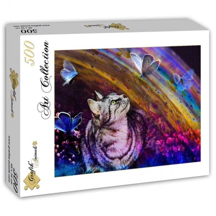 Puzzle Grafika-T-00858 Cat and Butterflies