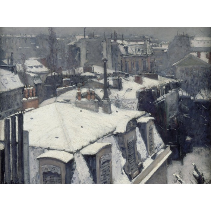 Puzzle Grafika-00077 Gustave Caillebotte : View of Rooftops (Snow), 1878-1879