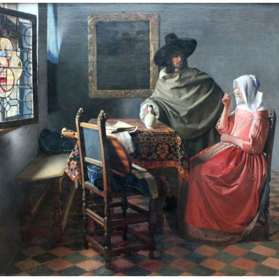 grafika-Puzzle - 1500 pieces - Johannes Vermeer - The Glass of Wine, 1658-1660