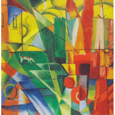 grafika-Puzzle - 1500 pieces - Franz Marc - Landscape with House, Dog and Cattle, 1914