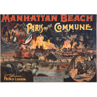 grafika-Puzzle - 1000 pieces - Pain of London fireworks, Paris and the Commune, performance poster, Manhattan Beach, New York, 1891