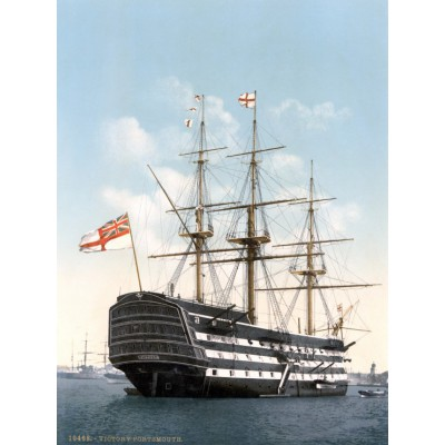 Puzzle  Grafika-00521 HMS Victory in Portsmouth, 1900