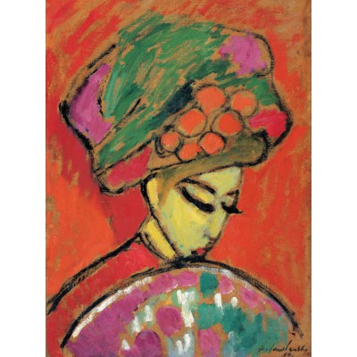 Puzzle  Grafika-00528 Alexei Jawlensky - Young Girl with a Flowered Hat, 1910