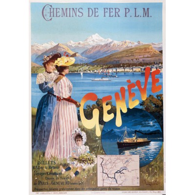 Puzzle  Grafika-00608 Poster of the PLM railway company: Paris - Genève, 1895