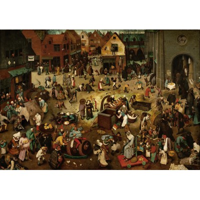 grafika-Puzzle - 1000 pieces - Brueghel Pieter: The Fight Between Carnival and Lent, 1559
