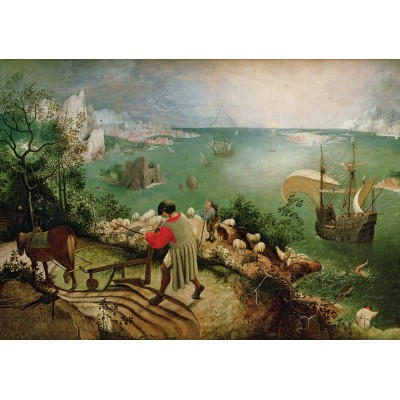 grafika-Puzzle - 1000 pieces - Brueghel Pieter: Landscape with the Fall of Icarus, 1558
