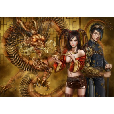 grafika-Puzzle - 1000 pieces - Chasing the Dragon