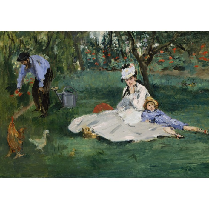 Puzzle Grafika-01132 Edouard Manet - The Monet Family in Their Garden at Argenteuil, 1874