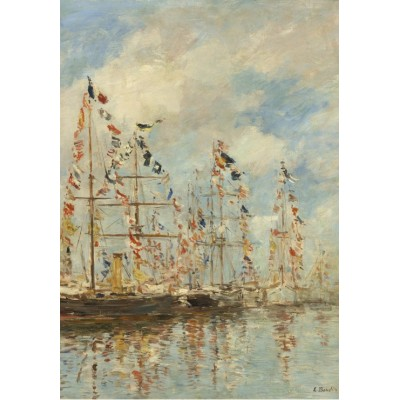 grafika-Puzzle - 1000 pieces - Eugène Boudin - Yacht Basin at Trouville-Deauville, 1895/1896