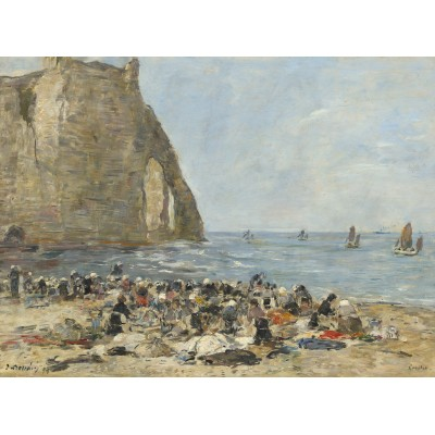 grafika-Puzzle - 2000 pieces - Eugène Boudin: Washerwomen on the Beach of Etretat, 1894