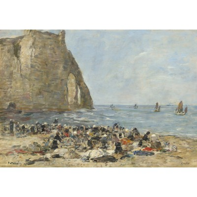 grafika-Puzzle - 1000 pieces - Eugène Boudin: Washerwomen on the Beach of Etretat, 1894