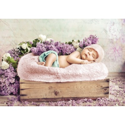 grafika-Puzzle - 1000 pieces - Konrad Bak: Baby sleeping in the Lilac