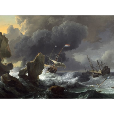 grafika-Puzzle - 300 pieces - Ludolf Backhuysen: Ships in Distress off a Rocky Coast, 1667