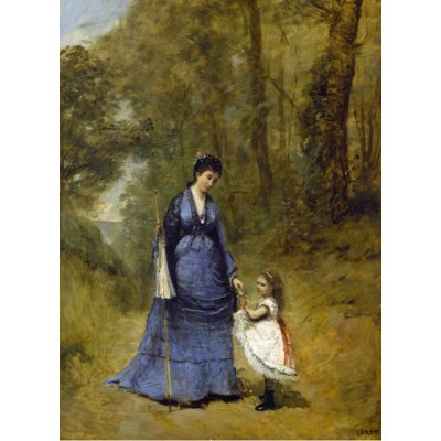Puzzle  Grafika-01950 Jean-Baptiste-Camille Corot: Madame Stumpf and Her Daughter, 1872
