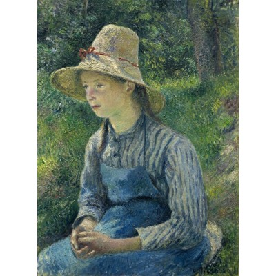grafika-Puzzle - 300 pieces - Camille Pissarro: Peasant Girl with a Straw Hat, 1881