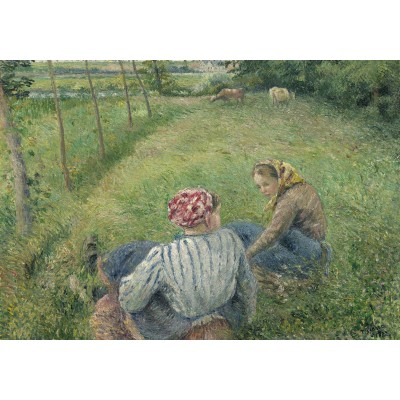 grafika-Puzzle - 1000 pieces - Camille Pissarro: Young Peasant Girls Resting in the Fields near Pontoise, 1882