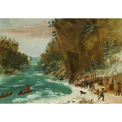 Puzzle  Grafika-02225 George Catlin: The Expedition Encamped below the Falls of Niagara. January 20, 1679, 1847-1848