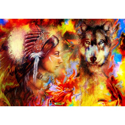 Puzzle  Grafika-02677 The Indian Woman and the Wolf