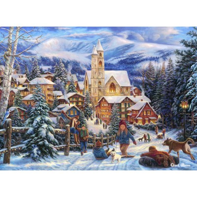 grafika-Puzzle - 300 pieces - Chuck Pinson - Sledding To Town