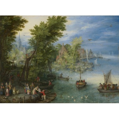 grafika-Puzzle - 2000 pieces - Jan Brueghel - River Landscape, 1607