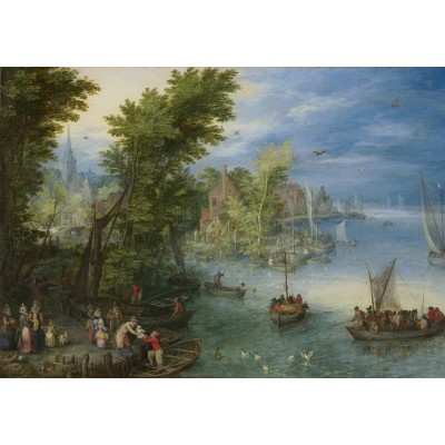 grafika-Puzzle - 1000 pieces - Jan Brueghel - River Landscape, 1607