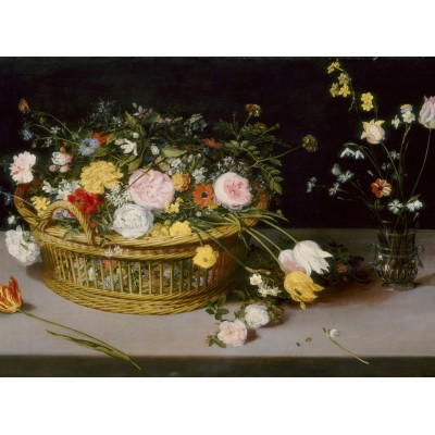 grafika-Puzzle - 2000 pieces - Jan Brueghel - Flowers in a Basket and a Vase, 1615