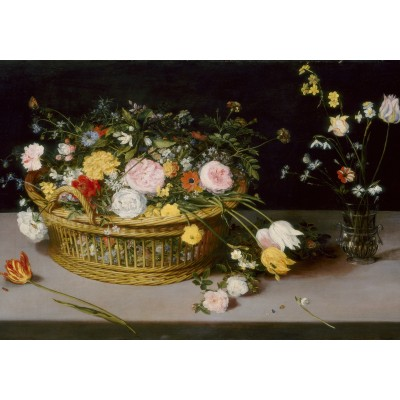 grafika-Puzzle - 1000 pieces - Jan Brueghel - Flowers in a Basket and a Vase, 1615