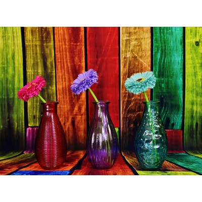 grafika-Puzzle - 2000 pieces - Flowered and Colorful Vases