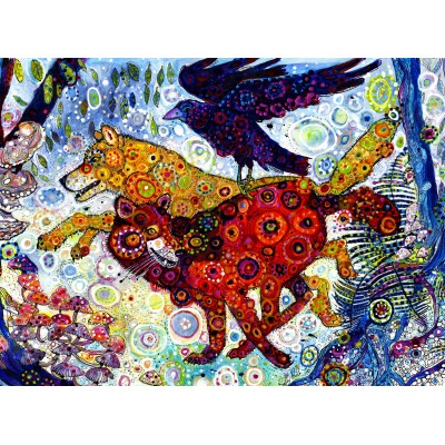 grafika-Puzzle - 2000 pieces - Sally Rich - Wolves in a Blue Wood