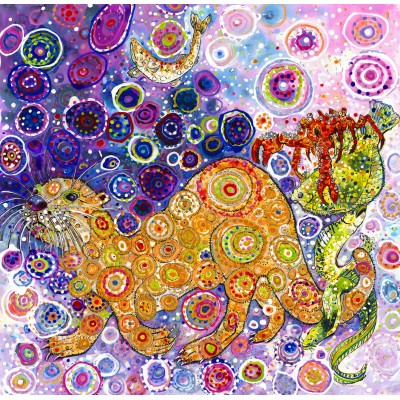 grafika-Puzzle - 1500 pieces - Sally Rich - Otters Catch