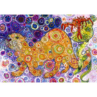 grafika-Puzzle - 1000 pieces - Sally Rich - Otters Catch