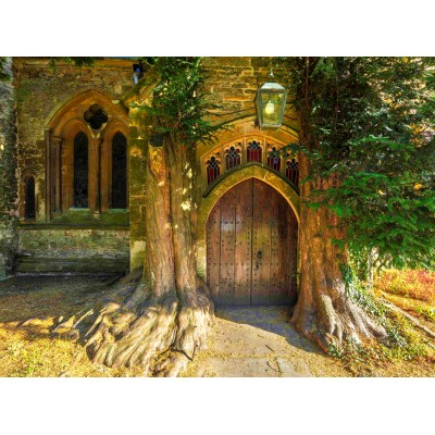 grafika-Puzzle - 2000 pieces - St Edward's Parish Church north door flanked by yew trees