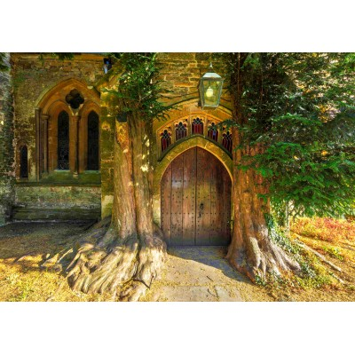 grafika-Puzzle - 1000 Teile - St Edward's Parish Church north door flanked by yew trees