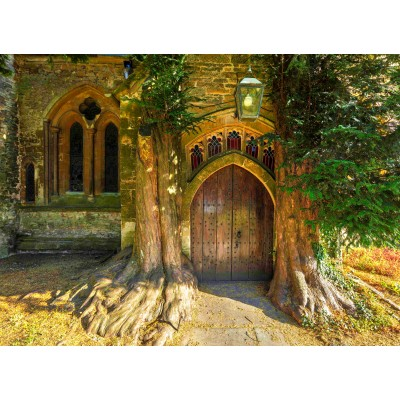 grafika-Puzzle - 300 Teile - St Edward's Parish Church north door flanked by yew trees