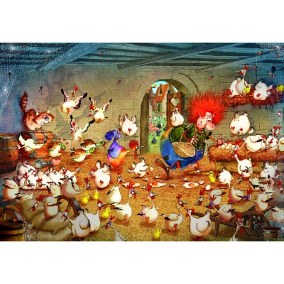 grafika-Puzzle - 1000 pieces - Crazy Chicken Coop