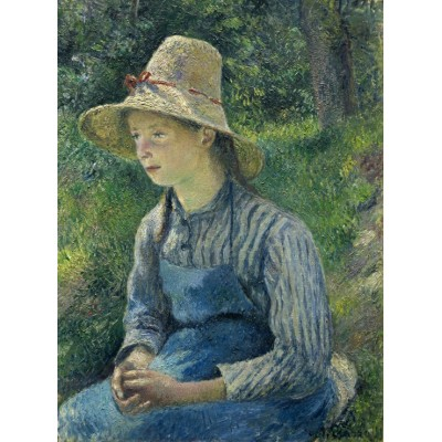 grafika-Puzzle - 2000 pieces - Camille Pissarro: Peasant Girl with a Straw Hat, 1881