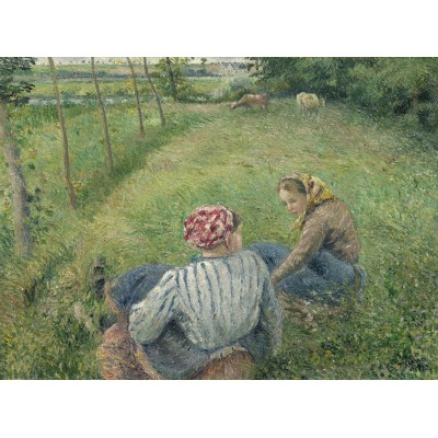 grafika-Puzzle - 2000 pieces - Camille Pissarro: Young Peasant Girls Resting in the Fields near Pontoise, 1882