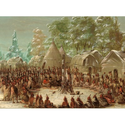 grafika-Puzzle - 2000 pieces - George Catlin: La Salle's Party Feasted in the Illinois Village. January 2, 1680, 1847-1848