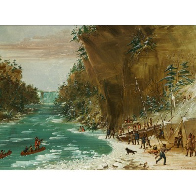 grafika-Puzzle - 2000 pieces - George Catlin: The Expedition Encamped below the Falls of Niagara. January 20, 1679, 1847-1848